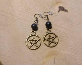 Earrings Pentagram Bronze Blaufluss