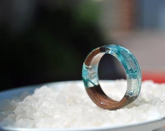 Blue Resin Ring Etsy