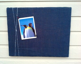 PinBoard in burlap with a nautical theme, twisted blue and white twine, cottage or beach wedding Pin Board, customizeable kitchen memo board