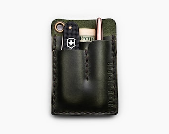 Green EDC Card Caddy - Horween Leather EDC Card Wallet  for Everyday Carry