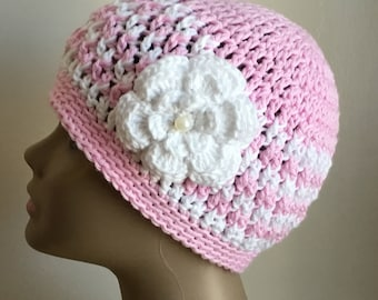Women's crochet hat, summer / spring, COTTON, chemo hat, Pink, white, removable flower, Ready to ship.  S68
