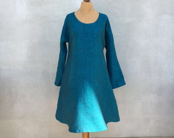 Linen Dress, Summer Linen Dress, loose A shaped dress, Long sleeve dress, womens tunic, plus size dress, holiday dress, women dress