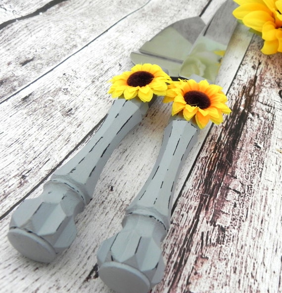 Shabby Chic Wedding Cake Server And Knife Set, Grey and Yellow Sunflower, Bridal Shower Gift, Wedding Gift