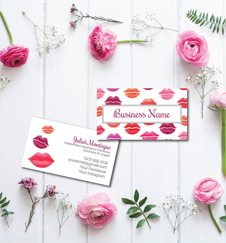 Lipsense Printable Business Cards Lip Shades Senegence