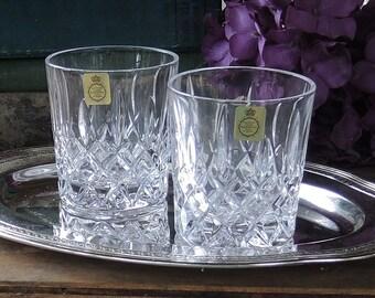 Bleikristall Brillant coupe coupes cristal Double ancien démodé lunettes Set de 2 fabriqué en Allemagne de l'Ouest whisky verres à boisson