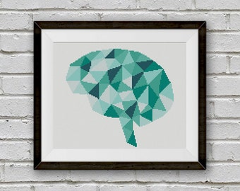 BOGO FREE! Geometric Brain Cross Stitch Pattern, Human Brain x-Stitch Chart, Human Anatomy Modern Decor, PDF Instant Download #025-15-3