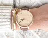 Womans Watch, Cherry Wood Rose Gold Watch, Women's Watch, Brown Leather Strap - HELM-CR