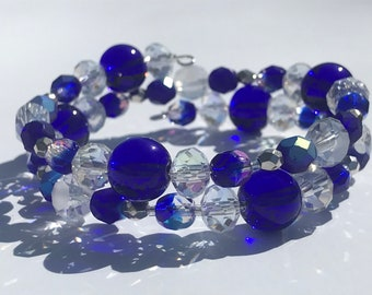 Memory Wire Bracelet, Blue Glass and Crystal