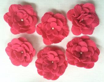 Petunia fondant flowers 6pcs fuchsia flowers edible fondant cake topper cupcake toppers decorations