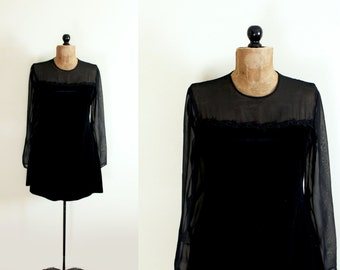 vintage dress 80s party black see through velvet mini 1980s womens clothing size m medium