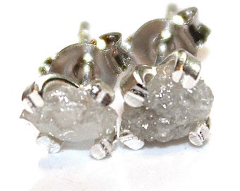 White Diamonds Raw Diamond Earring Rough Diamond Studs Real Diamond Jewelry Silver Diamond Earring Small Earring Natural Diamond Modern
