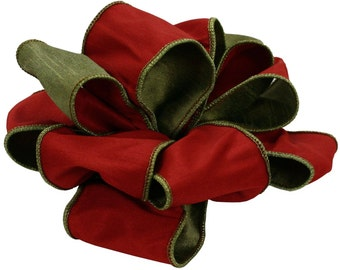 Offray Wired Edge Switch It Reversible Craft Ribbon, 2-1/2-Inch Wide by 10-Yard Spool, Red/Apple Green