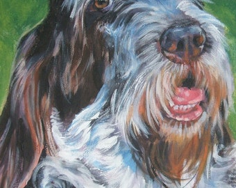 Spinone Italiano art CANVAS print of LA Shepard painting 11x14 dog portrait
