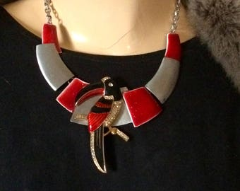 Necklace vintage bib designer modernist art deco toucan