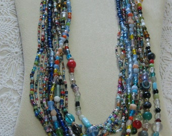 R- One Dozen Glass Mardi Gras bead necklaces from New Orleans-Carnival --Parade