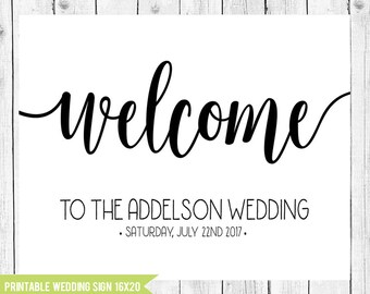 Calligraphy Wedding Welcome Sign, Modern Wedding Sign, 16x20 Printable Wedding Sign, Elegant Wedding Decor, Welcome Sign, Wedding, PRINTABLE
