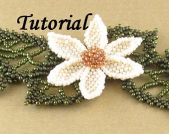 Beadweaving Pattern Tutorial - Flower with Leaves Bracelet