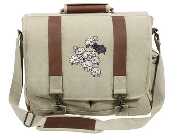 The Black Sheep Embroidered Canvas with Leather Accents Premium Laptop Bag
