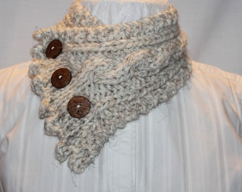 Knit Cowl, Fishermans Wife Cowl, Neck Warmer, Knitted Cowl, Cable Knit Scarf, Color Wheat, Fits most Women and Teens