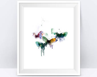 Butterflies, Art Print, Butterfly Art, Watercolor, Painting, illustration, Abstract, insect, Nature, Artwork Wall Art Gift Digital Download