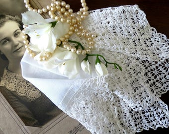 Vintage Wedding Handkerchief, White Bridal Hankie with Delicate Crocheted Lace Trim,  Vintage Linens