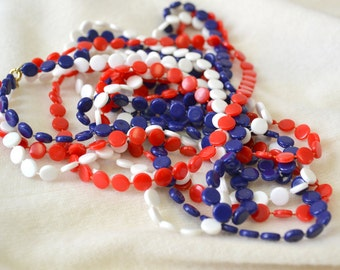 1960s Red, White, and Blue Extra Long Necklace