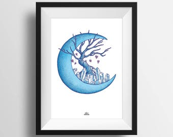 PRINT A4 . Moon, tree, and crystal . Art . Illustration . Nature