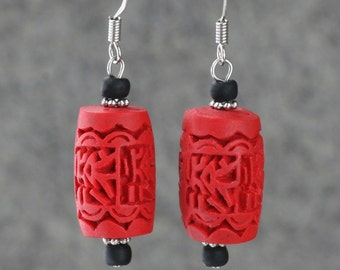 Red carved resin drop earrings Bridesmaids gifts Free US Shipping handmade anni designs
