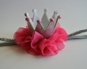 Silver and Hot Pink Baby Crown Headband - Silver Glitter Crown - Pink Birthday Crown - Princess Crown - Photo Prop Crown - Girls Crown
