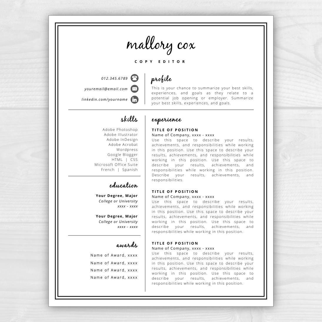 Resume icons resume design resume template word resume zoom madrichimfo Gallery