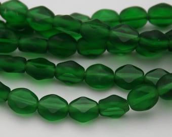 24 Czech Glass Polished Diamond Beads in Dark Emerald Green Matte - 7 x 6 mm