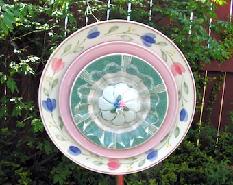 Deeply Layered Plate Flower in Pink, Blue Gren and White, Yard Art, Close Out Sale