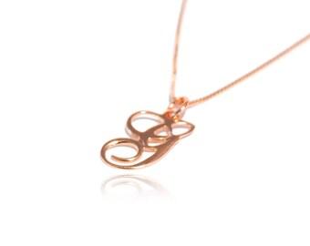 Rose Gold Initial Necklace Initial Monogram Necklace Initial Charm Necklace 1 Letter Monogram Necklace