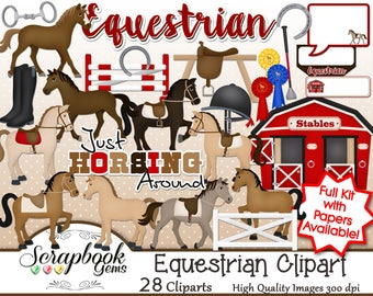 EQUESTRIAN Clipart, 27 png Clipart files Instant Download stable fence rails horse horseback riding mare stallion crop boots horseshoe first