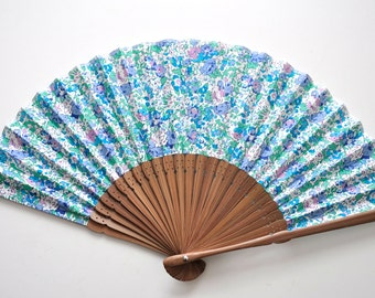 Fabric Small Flower Hand Fan with sleeve - multicolor hand fan,Handheld Folding Fan, Japanese Hand Fan,folding fan