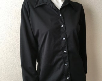Vintage Women's 70's Black Blouse, Polyester, Long Sleeve by Lee Mar (L)