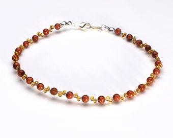 Gold Sandstone and Topaz  Seedbead Bracelet