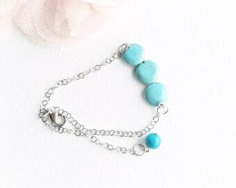 turquoise bead bracelet, stainless steel bracelet, fancy bracelet, woman bracelet,
