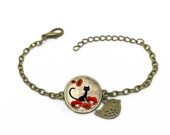 "Bracelet "" Chat noir, coquelicots "", image sous cabochon résine ,monture couleur bronze, cat, earrings , flower , ref bA 85"
