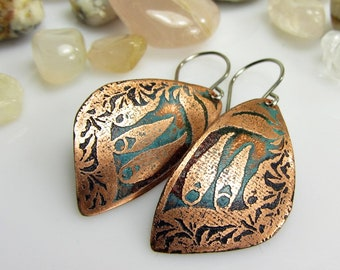 Copper Earrings Dangle, Copper Earrings Handmade, Copper Jewelry Handmade, Copper Anniversary, Boho Earrings, Etched Copper Earrings, Gifts
