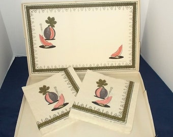 Vintage 1960s or 1970s Contempo Paper Ware-Place Mats & Napkins-Melon Creole-Designed by S Wilson