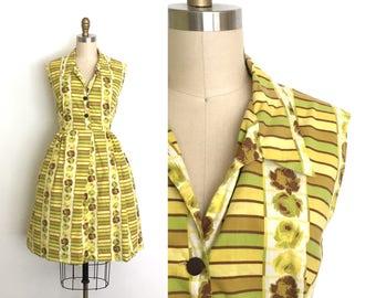vintage 1950s dress   50s rose print shirtdress