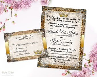 Fairytale Wedding Invitation, Once apon a time oranate invite,  Gold and Silver King and Queen Royal Wedding Printable Initation Suite DIY
