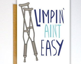 Get Well Soon Card, Broken Bone Card, Broken Leg Card, Get Well, Encouraging Card, Illness Card, Cancer Card, Empathy Card, Funny Card
