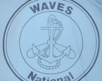 USN US Navy WAVES National veteran's organziation blue windbreaker Med. circa 1970s