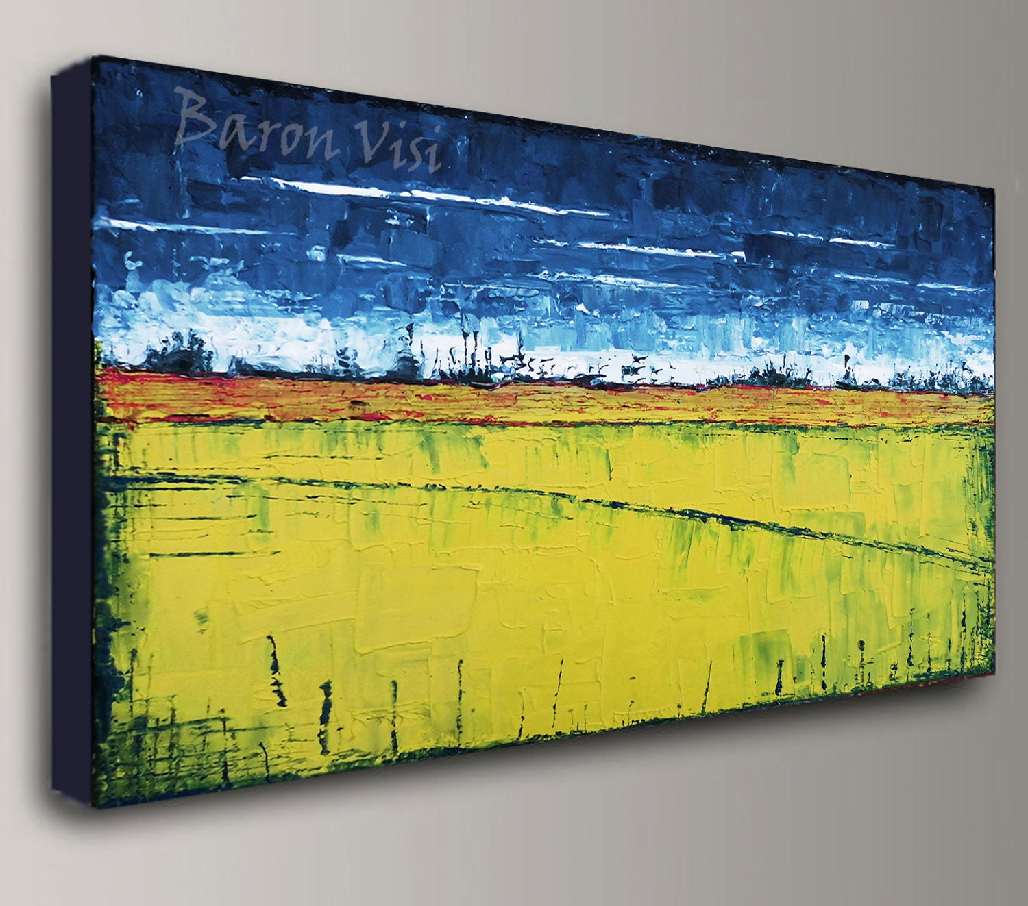 abstract painting acrylic painting art painting blue yellow