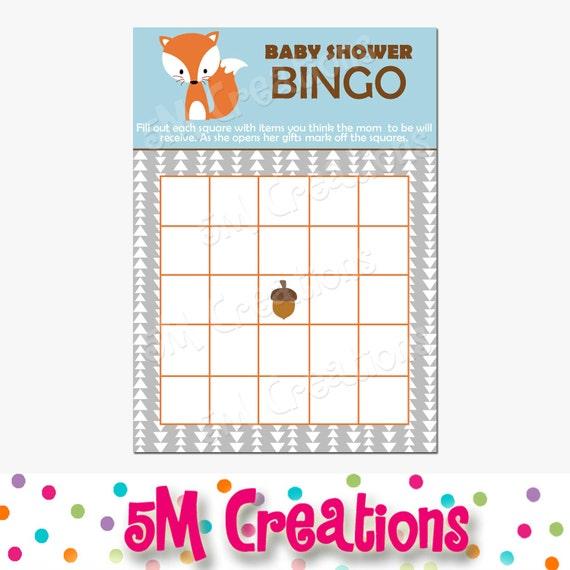 Fox Baby Shower Bingo Card Printable Bingo Card Printable Baby Shower  Advice Printable