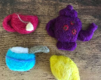 Tea Time Needle Felted Magnets