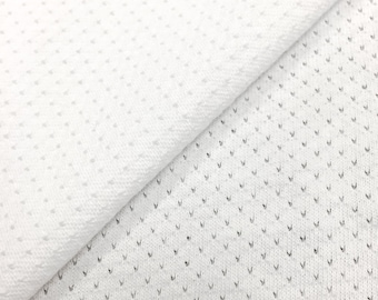 Cotton Sports Mesh Fabric (Wholesale Price Available By the Bolt) USA Made Premium Quality - 7006C White - 1 Yard