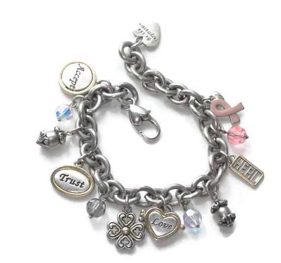 Vintage Brighton Breast Cancer Charm Bracelet 8 Charms Power of Pink Inspirational Bracelet
